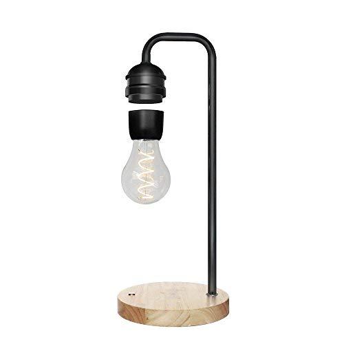 Bombilla de levitación magnética LED Regalo Mágico Regalo Inalámbrico Cargador Novela Levitación Tecnología Decoración Lámpara de mesa flotante-Un negro