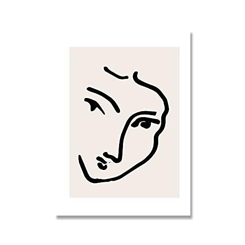 Póster de geometría de curva abstracta, carteles e impresiones de estilo colorido de Matisse, artista de pared, casa, lienzo sin marco, pintura A6 20x30cm