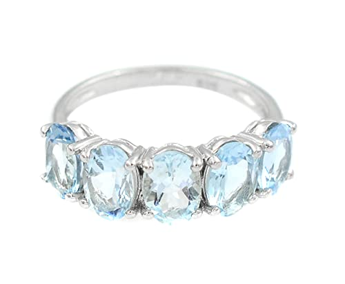Natural Deep Color Aquamarine 7X5 MM Oval Cut March Birthstone Gemstone 925 Sterling Silver Cluster Unisex Ring For Christmas Gift (Rhodium Plated Silver, 10)