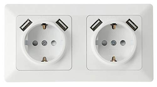 MILOS Doppel-Steckdose mit 4x USB Weiß 2-fach Steckdose mit Kindersicherung 4x 5V USB
