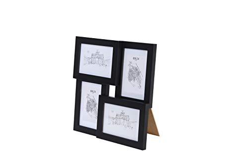 Classic by Casa Chic - Echtholz Bilderrahmen Collage - Schwarz - 4 Rahmen 10x15 cm - mit hichwertigem Passepartout - Echthglas - zum Aufstellen oder Aufhängen - Rahmenbreite 2cm