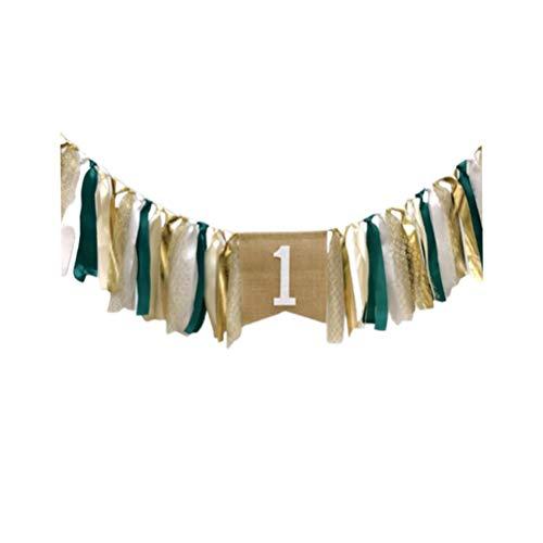 Amosfun Partybanner zum 1. Geburtstag, für den ersten Geburtstag, Hochstuhl, Wimpelkette, Flagge, Foto-Requisiten für Baby-Party, Wald-Party-Dekorationen (mintgrün) 200 * 45cm dunkelgrün