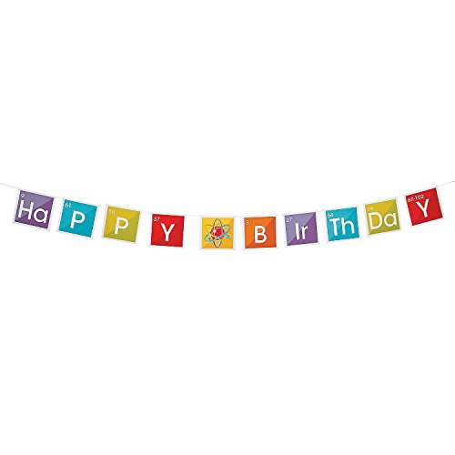 Fun Express - Science Party Birthday Banner for Birthday - Party Decor - Hanging Decor - Garland - Birthday - 1 Piece
