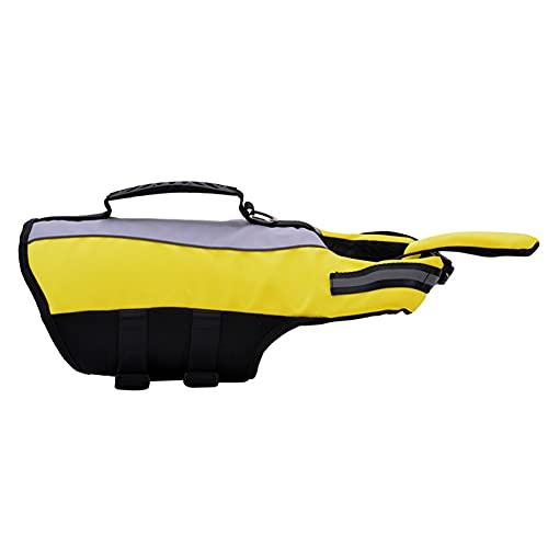 OMEM Chaleco salvavidas para perro, desmontable y plegable, tira reflectante ajustable con mango de rescate flotante para nadar y remar (S)