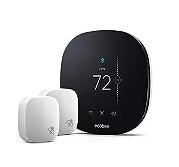 ecobee3 Lite Smart Thermostat with 2 Room Sensors,Black  Renewed