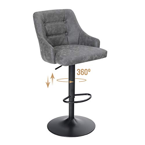 ALPHA HOME Swivel Bar Stool Adjustable Airlift Counter Height Bar Stool Kitchen Dining Cafe...
