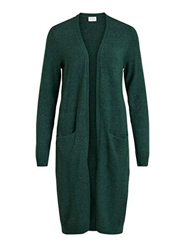 Vila Clothes Viril L/s Long Knit Cardigan-Noos Chaqueta Punto, Verde (Pine Grove Detail: Melange), 38 (Talla del Fabricante: Small) para Mujer