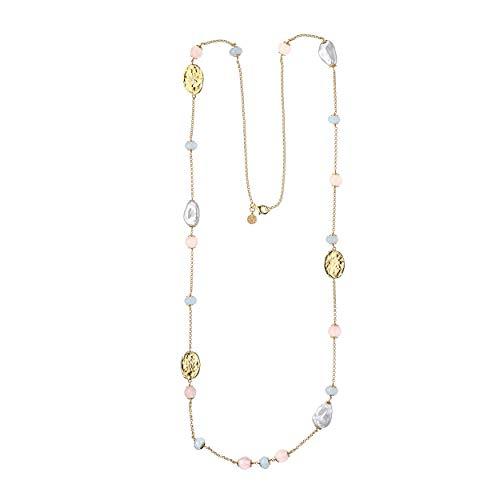 Duran Exquse Collar colección Milos realizada en Plata 925 bañada en Oro Amarillo y Detalles en Jade Azul Aqua y Cuarzo Rosa, Perla barroca