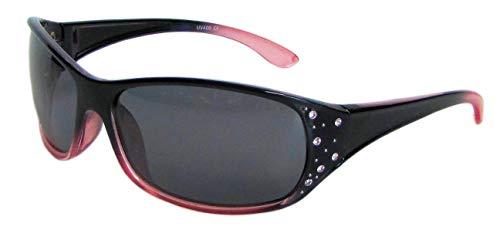 Hornz HZ Serie Elettra – Gafas de sol polarizadas para mujer (Marco negro y rojo - Lente de humo oscuro)