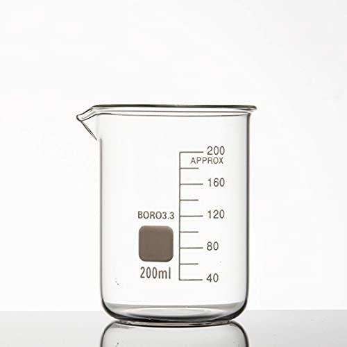 HCFSUK Vaso de Vidrio de Laboratorio de 5 ml-1000 ml Vaso de Vidrio de borosilicato con Mango Vaso de Vidrio Boro 3,3 Espesado