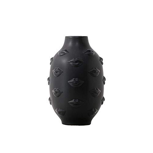 Vase Lippen Gesicht Kopf Pflanzer Vase Gesicht Vase Für Blume Menschliches Gesicht Blumenvase Sukkulenter Topf Hausgarten Ornament Weiß Keramik Handwerk Schwarz
