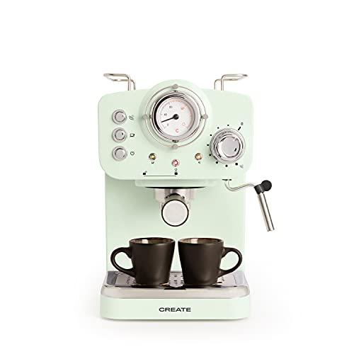 IKOHS THERA Retro - Cafetera Express para Espresso y Cappucino, 1100W, 15 Bares, Vaporizador Orientable, capacidad 1.25l, Café Molido y Monodosis, Con Doble Salida (Verde)