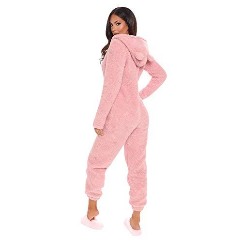 MINASAN Damen Jumpsuit Fleece Einteiler Overall Anzug Flauschig Jumpsuit flauschig und kuschelig weich warm Einteiler Ganzkörperanzug Overall warm (Rosa2, M)