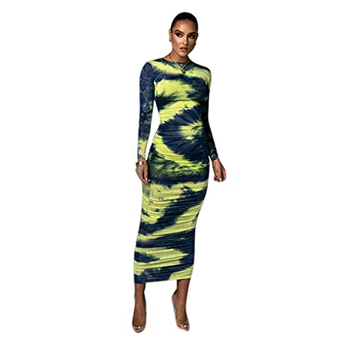 AIBEARTY Women Tie Dye Bodycon Dress Sexy Long Sleeve Ruched Round Neck Long Pencil Dress Casual Party Club Dress Blue