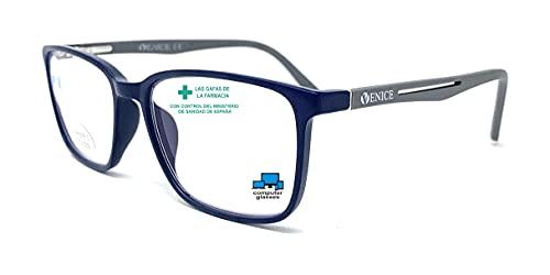 VENICE EYEWEAR OCCHIALI | New Model Gafas de lectura con filtro bloqueo luz azul para gaming, ordenador, móvil. Anti fatiga STEEL professional unisex venice (Azul Gris, 3,50)