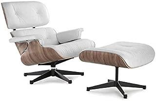 Soho Modern Style Replica Lounge Chair - White Leather, Walnut Wood, Premium Reproduction, Mid-Century Modern Furniture (Aniline Leather, Black Base)