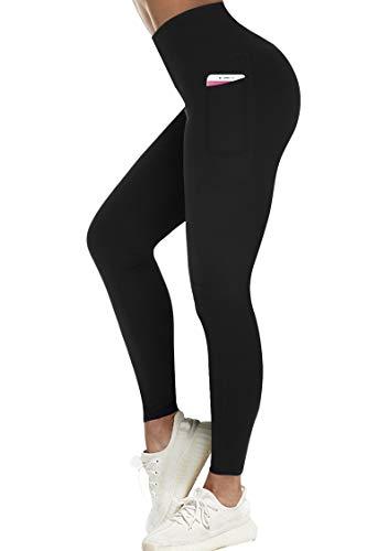 3W GRT Leggings Damen,Sporthose Damen,Fitness Sport Yoga Hosen Damen Mit Taschen,Blickdicht Lange Sporthose,Jogginghose Damen (schwarz, XXL)