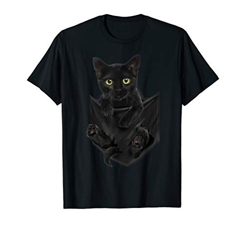 Black Cat Stern in Pocket T-Shirt Cats Tee Shirt Gifts