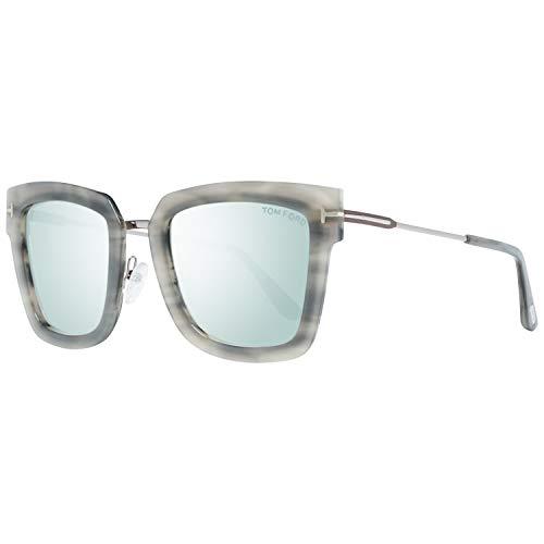 2018 Tom Ford Lara-02 FT0573 Women Gray & Mirrored Light Blue Square Sunglasses