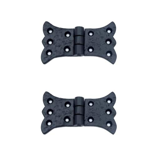 Adonai Hardware 'Aeneus' Heavy Duty Antique Cast Iron Vintage Cabinet Butterfly Hinges (2 Pack, Black Powder Coated) for Barn Doors, Cupboards, Wooden Jewelry Box, Furniture, Treasure Chest and Trunks