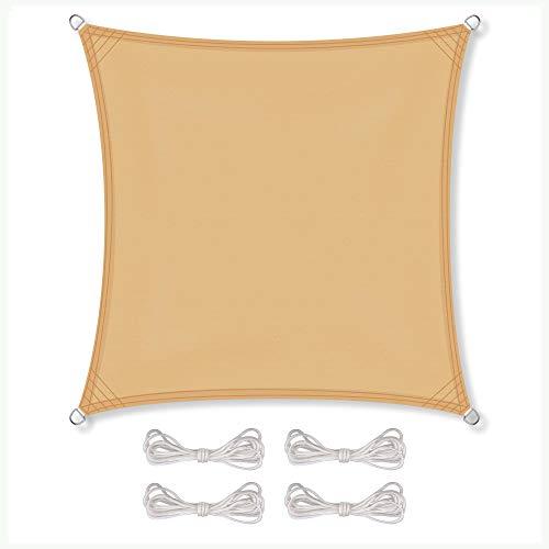 CelinaSun Sonnensegel inkl Befestigungsseile PES Polyester wasserabweisend imprägniert Quadrat 3,6 x 3,6 m Sand beige