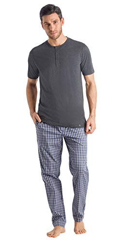 Hanro Herren Night and Day Short Sleeve Henley Shirt Pyjama-Oberteil (Top), Enigma Melange, Medium