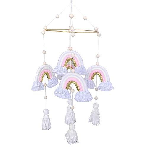 Campana de viento móvil para bebé, decoración para cunas, lindo arco iris bohemio con cinco colgantes de arco iris, decoración de guardería, juguetes para cuna para bebés