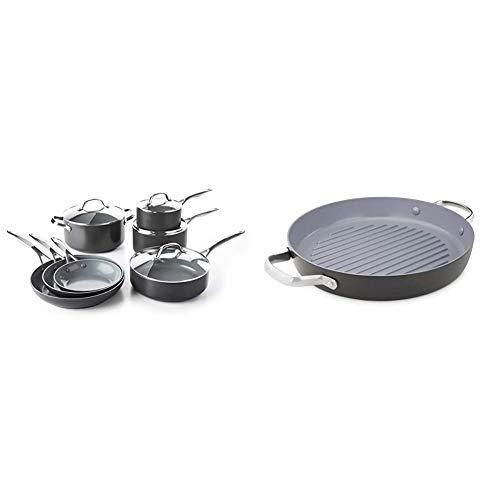 "GreenPan Valencia Pro 100% Toxin-Free Healthy Ceramic Nonstick Metal Utensil Dishwasher/Oven Safe Cookware Set, 11-Piece, Gray & Valencia Pro Hard Anodized Induction Ceramic Nonstick, 11"" Gray"