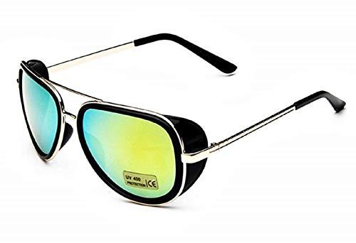 KIRALOVE Occhiali da sole tony stark - iron man - sexy - donna - uomo - unisex - montatura oro lente verde - occhiali da sole ragazzo