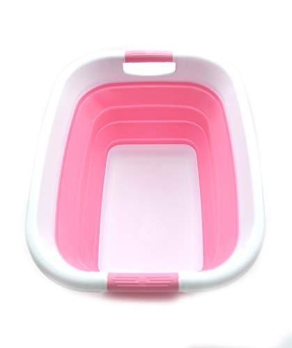 SAMMART Zusammenklappbarer Wäschekorb / -wanne - Faltbarer Aufbewahrungsbehälter/Organizer - tragbarer Waschbehälter - platzsparender Korb - Kofferraum-Aufbewahrungsbox (Rosa)