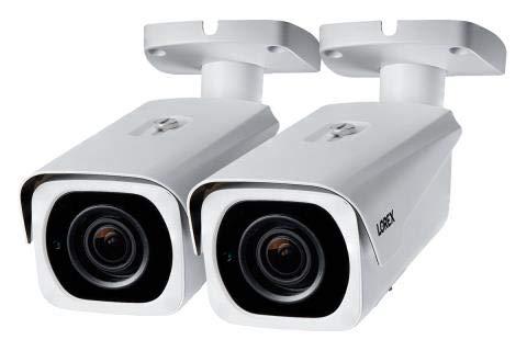 Lorex 8MP 4K IP Motorized Varifocal Zoom Bullet Security Camera LNB8963, 250ft IR Night Vision, 4X Zoom, (2 Cameras, White)