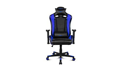 Drift DR85BL - Silla Gaming Profesional, polipiel, reposabrazos 2D, piston clase 4, asiento basculable, altura regulable, respaldo reclinable, cojines lumbar y cervical, color negro/azul