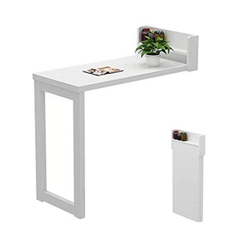 MWPO Rustikaler klappbarer Wandtisch mit Klappblatt, Esstisch aus Massivholz, Stehtische an der Wand, Studiertisch