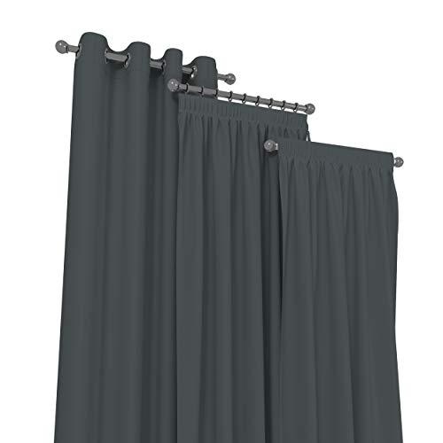 Market-Alley Vorhänge 2er Set Vorhang für Kinderzimmer Schlafzimmer Wohnzimmer Elegant Gardine mit Ösen/Taschenband/Kräuselband (122 Dunkelgrau ; mit Kräuselband ; 135cm x 150cm)