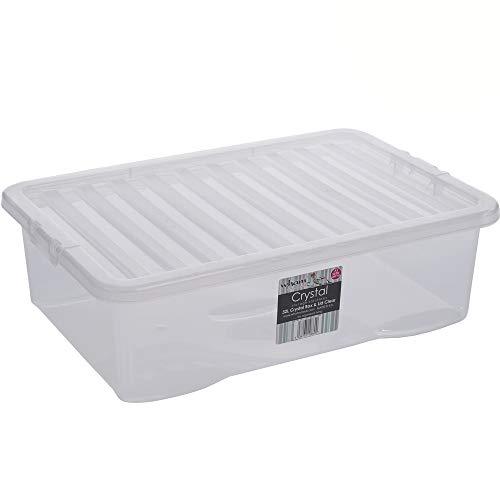 Box mit Deckel klar transparent 32 L Stapelbar 60 x 40cm Aufbewahrungs Box Stapel Kiste Multifunktions Box Spielzeug Kiste Kunststoff Behälter Lebensmittelecht Plastikbox Stapelkiste Haushalt Büro 1x