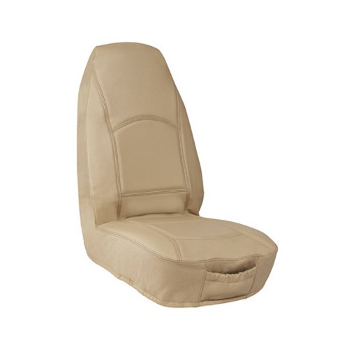 Elegant Universal Front Bucket Seat Cover - Genuine Leather Fabric (Tan)