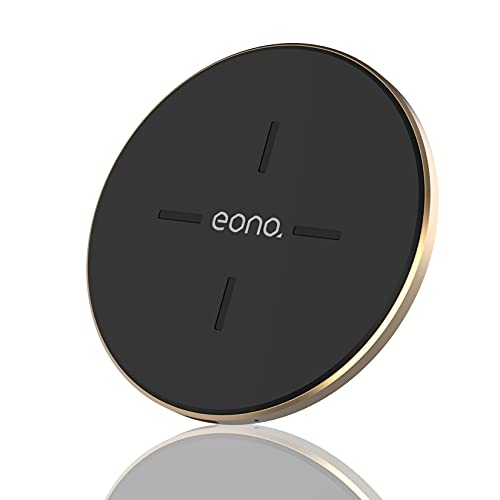 Amazon Brand - Eono Cargador inalámbrico Rápido, C1 Cargadores por inducción Qi-Certificado 15W MAX Compatible con iPhone 12/12 Mini/12 Pro/12 Pro MAX, Galaxy S20/20+/20 Ultra, AirPods Pro(Oro)