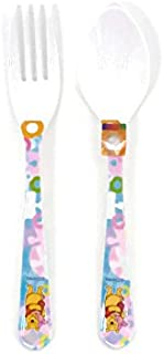 Disney Winnie the Pooh Small Melamine Kids Fork and Spoon Set (Pooh and Piglet)