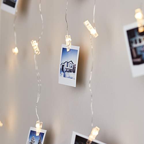 Lights4fun 128er LED Wäscheklammer Foto Lichtervorhang warmweiß batteriebetrieben Timer 120cm