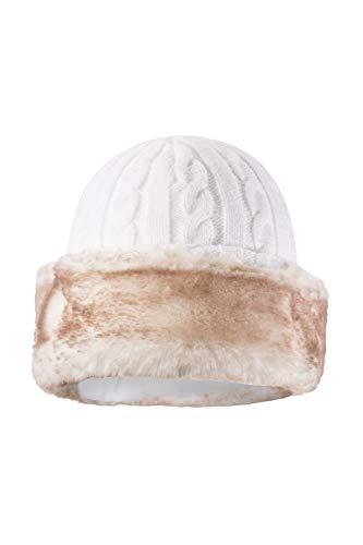 Mountain Warehouse Damen Pelzmütze, Für Winter Cremefarben Einheitsgröße