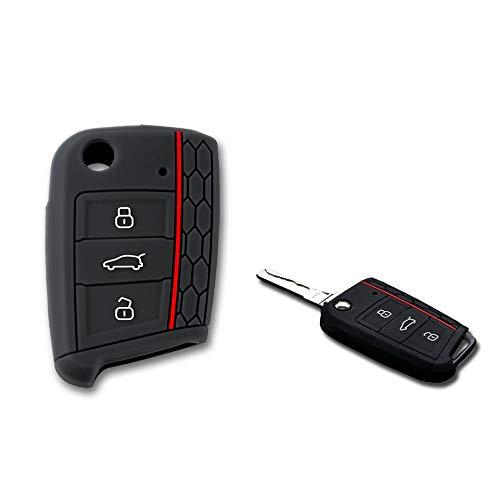 1neiSmartech Caparazón Carcasa Silicona Para Llave Mando A Distancia 3Teclas 3Botones Coche Volkswagen Golf Polo Passat Touran Tuareg
