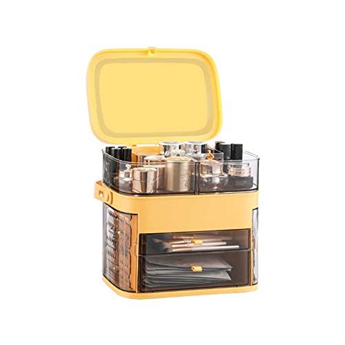 UOOD Organizador de maquillaje multifuncional con espejo de maquillaje LED, caja de almacenamiento de maquillaje transparente portátil, caja de almacenamiento, caja de almacenamiento, a prueba de agua