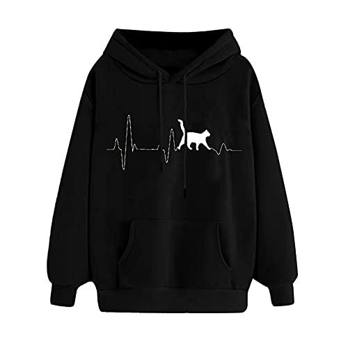 Uqiangy Womens Classic Hooded Sweatshirt Cute Print Hoodie Autumn Winter Casual Sport Pullover Tops With Pocket,M-XXXL (J-Black, 12)