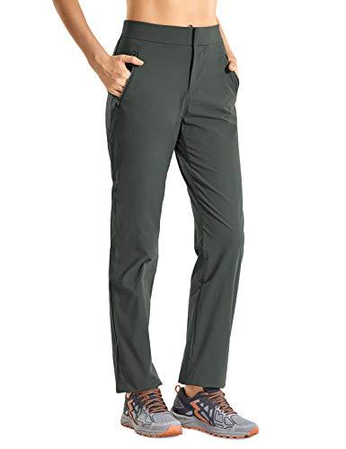 CRZ YOGA Mujer Pantalón Casual Recto de Tiro Medio Pantalón de Viaje con Cremallera Lateral y Bolsillos Montaña Verde 38