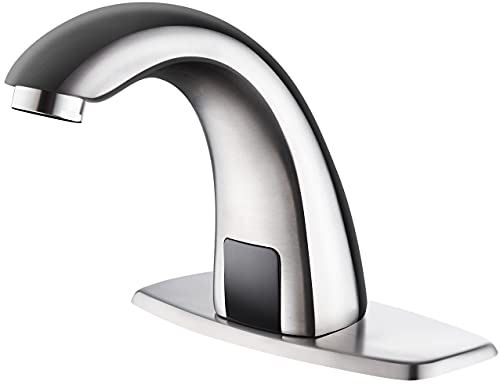 Luxice Automatic Touchless Bathroom Sink Faucet with Hole Cover Plate (Brushed Nickel)