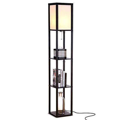 Brightech Maxwell - Modern LED Shelf Floor Lamp - Skinny End Table and Nightstand for Bedroom - Combo Narrow Side Table with Standing Accent Light Attached - Asian Tower Book Shelves - Black