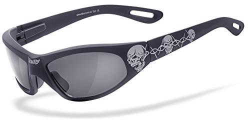 HELLY® - No.1 Bikereyes® | Bikerbrille, Motorradbrille, Motorrad Sonnenbrille | TRIBAL-BRILLE: beschlagfrei, winddicht, bruchsicher | TOP Tragegefühl bei langen Ausfahrten | Brille: black angel - tribal