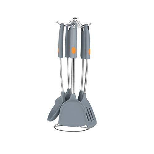 Xxw lamp Cacerola Antiadherente de Grado alimenticio Pala de Silicona de Alta Temperatura 304 Juego de Utensilios de Cocina de Acero