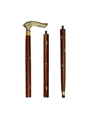 Regalo al padre en la ocasión del día de padre Hecho a mano de madera Bastón / Regla Con Punta Redonda Latón (Brass)