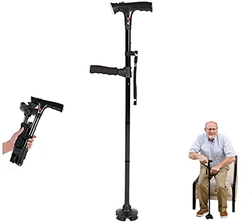 Clever Cane with LED Light, Clever cane two handle cane with alarm, Travel Adjustable Folding Canes, Height Adjustable 4 Prong Anti-Slip Quad Cane
